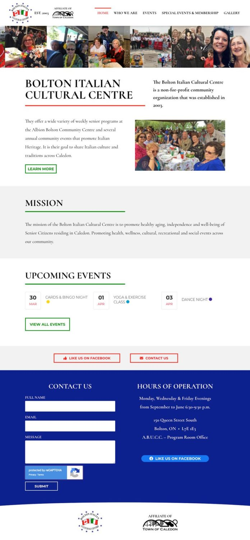 Bolton Italian Cultural Centre Website Design