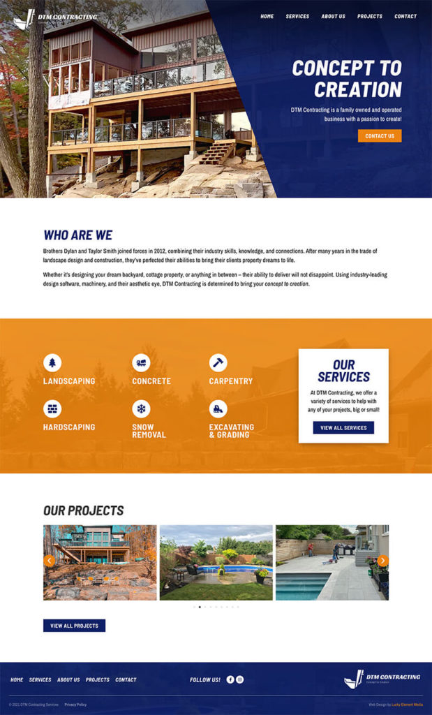 DTM Contracting Services Website Thumbnail